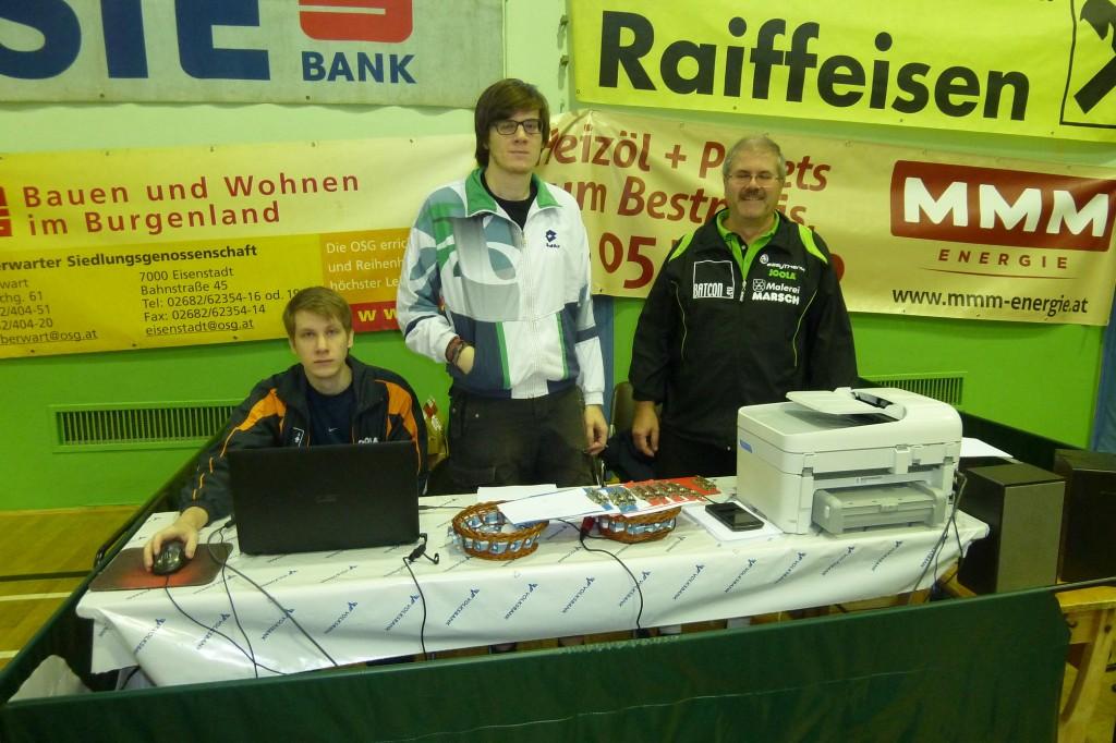 Die Turnierleitung: Patrick, Daniel, Franz Felber